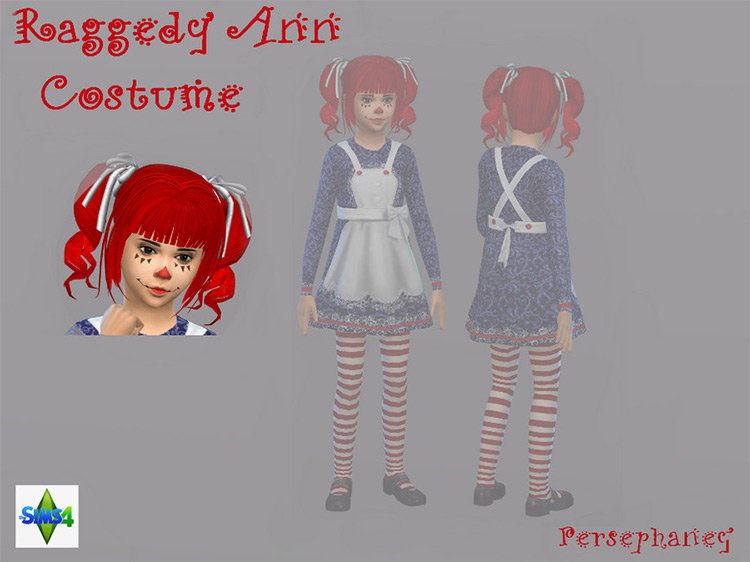 Raggedy Ann Child Face for The Sims 4