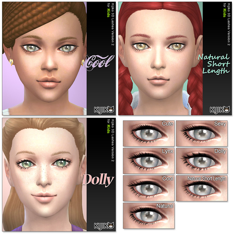 Kijiko's 3D Lashes for Kids / Sims 4 CC