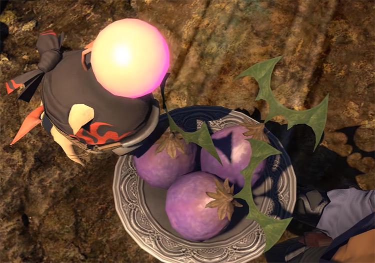 Holding fake Kupo Nuts in Final Fantasy XIV