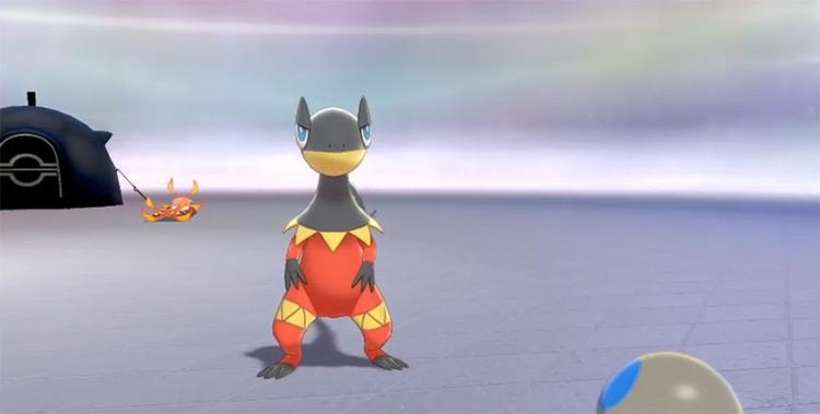 Shiny Heliolisk in Pokémon camp