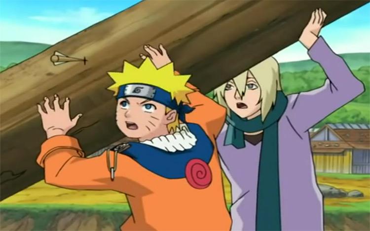 Naruto holding wooden pole / anime screenshot