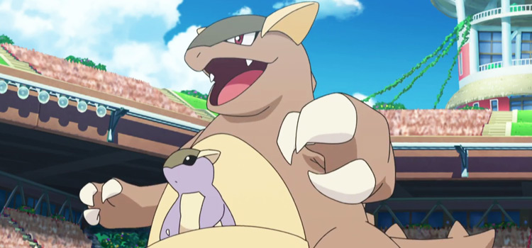Kangaskhan with baby in pouch / Pokemon anime