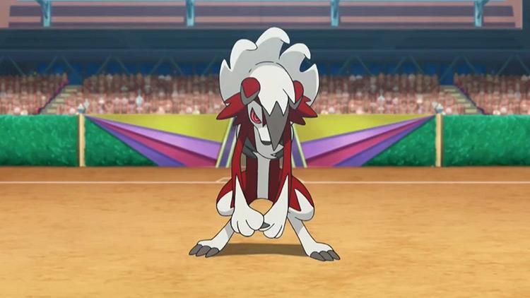 Lycanroc Midnight Form Pokemon anime screenshot