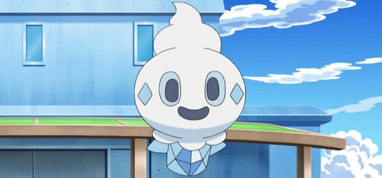 Vanillite smiling in the Pokémon anime