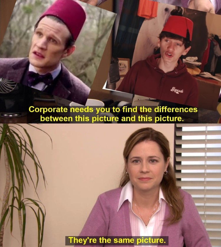 Dr Who looking at the same picture