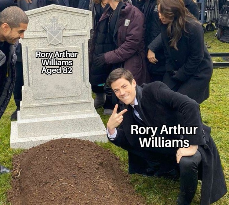 Roray Arthur Williams at his own grave