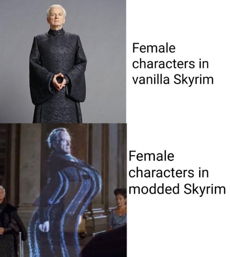 Female characters in vanilla vs. female characters in modded Skyrim