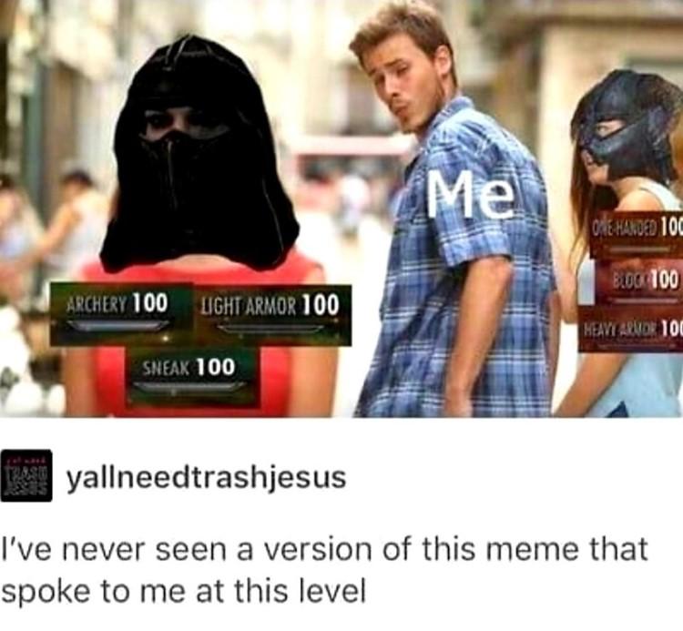 Looking boyfriend meme, Skyrim edition joke