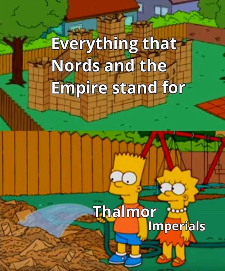 Thalmor and Imperials watering castle, Simpsons crossover meme