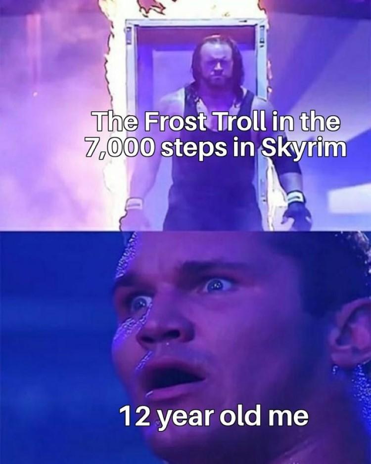 Frost Troll in 7000 steps in Skyrim vs. 12-year-old me