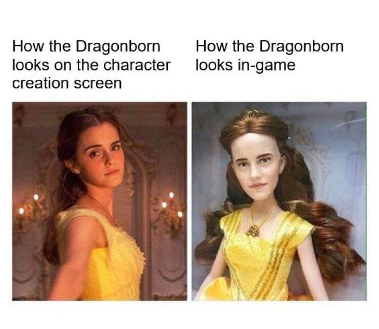 Dragonborn in creation screen vs. dragonborn in-game