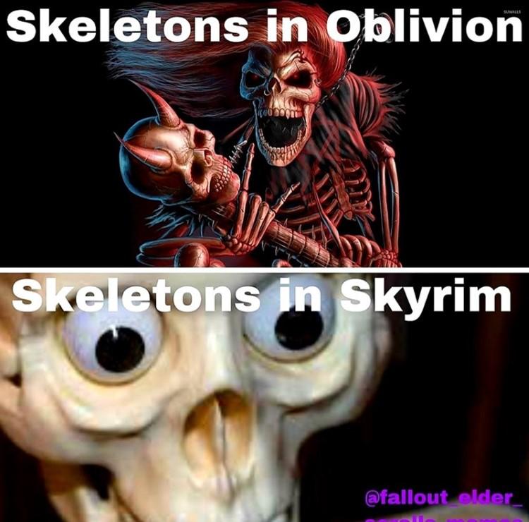 Skeletons in Oblivion vs Skeletons in Skyrim