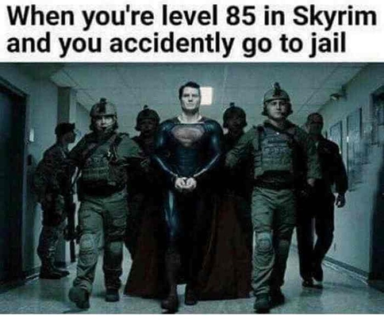 When youre level 85 in Skyrim but go to jail anyway