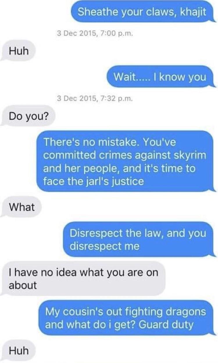 Texting meme about Skyrim