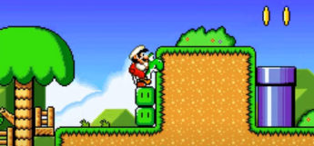 Super Mario World 2 - ROM Hack Screenshot with Yoshi