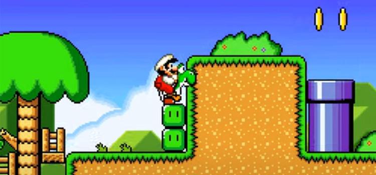 Super Mario World 2 - ROM Hack Screenshot with Yoshi