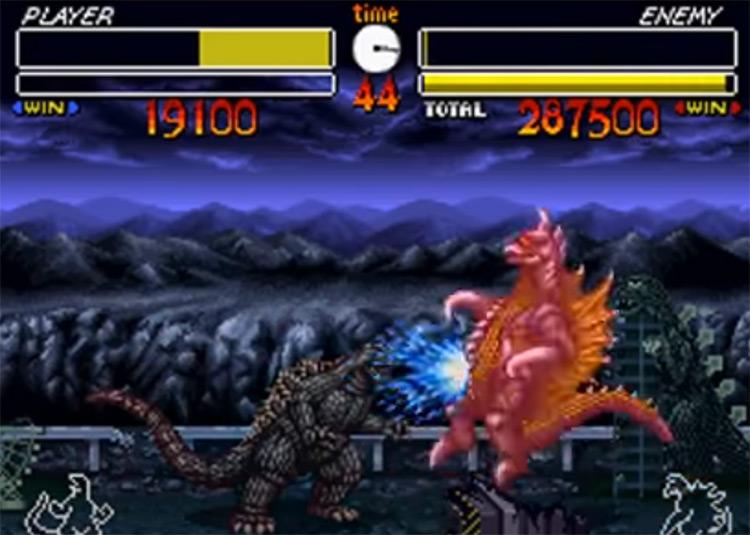 Godzilla: Kaiju Daikessen on SNES gameplay