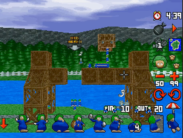 3D Lemmings PS1 Puzzle Screenshot