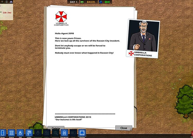 Umbrella Corporation Prison Architect Mod Screen