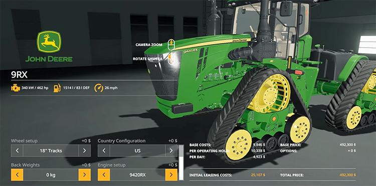 John Deere 9RX Series US & EU Farming Simulator Mod