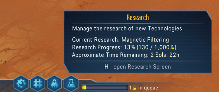Show Research Progress on HUD Surviving Mars Mod