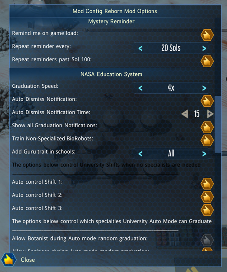 Mod Config Reborn Surviving Mars Mod