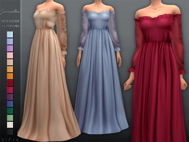 Screenshot of Samantha Dress CC in TS4