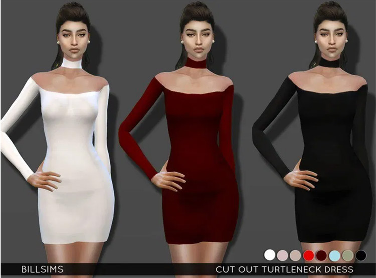 Screenshot of Turtle Neck Dress CC in TS4