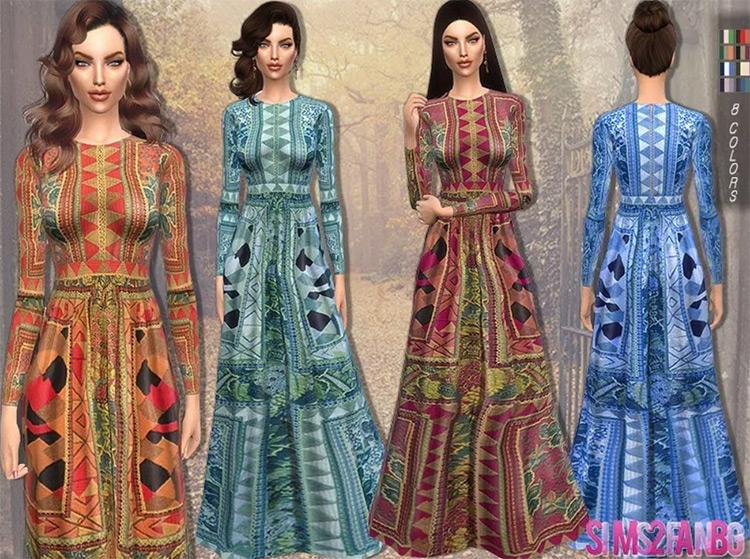 Screenshot of Long Printed Dress in Sims 4