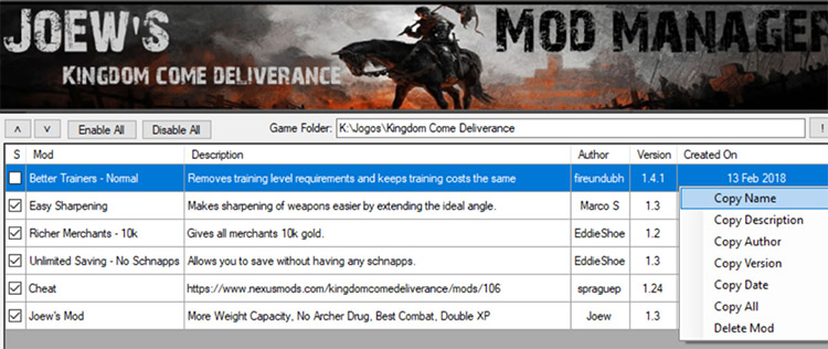 Joew's Kingdom Come Deliverance Mod Manager Kingdom Come Deliverance Mod