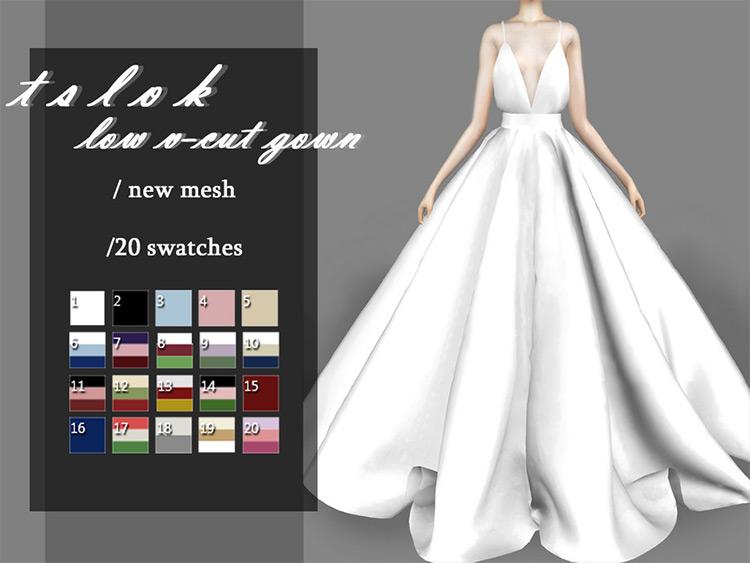 Low V-Cut Gown Wedding CC