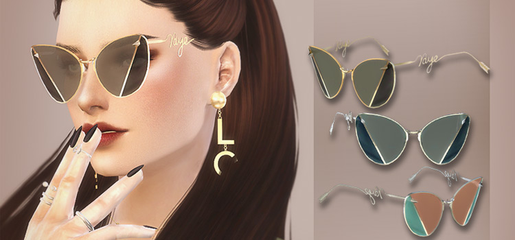 Shapely sunglasses preview on Sims4 girl