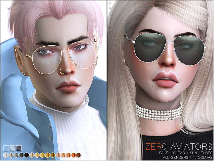 Zer0 Sunglasses, cool look in Sims4