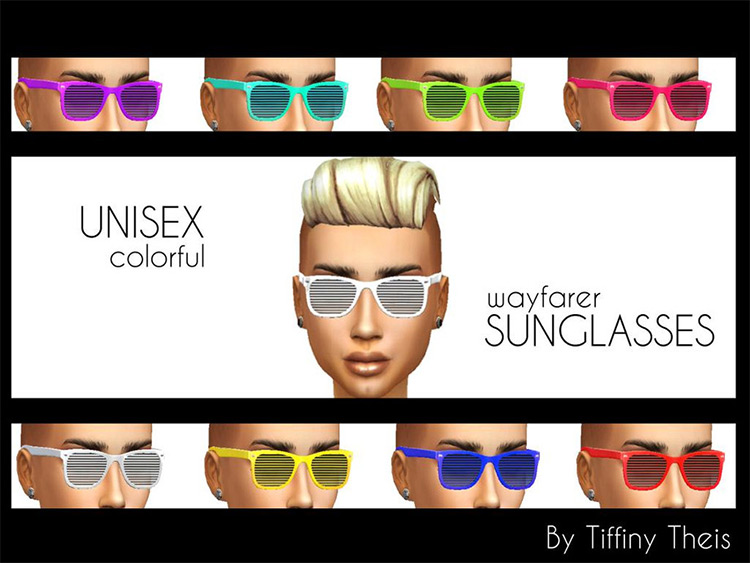 Colorful themed sunglasses Sims4 CC