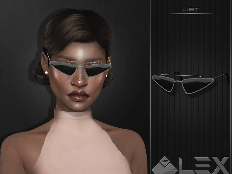 Jet dark sharp sunglasses in Sims4