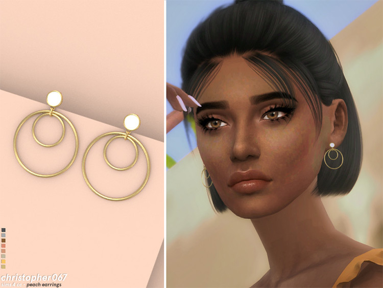 Peach Earrings in Sims4 CC