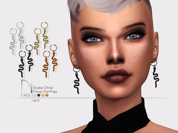 Snake Drop Earrings Sims 4 CC
