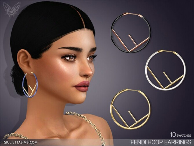 Designer Hoop Earrings for Sims4 CC