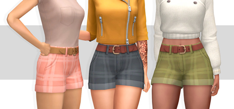 Girls Plaid Shorts - Custom Content for The Sims 4