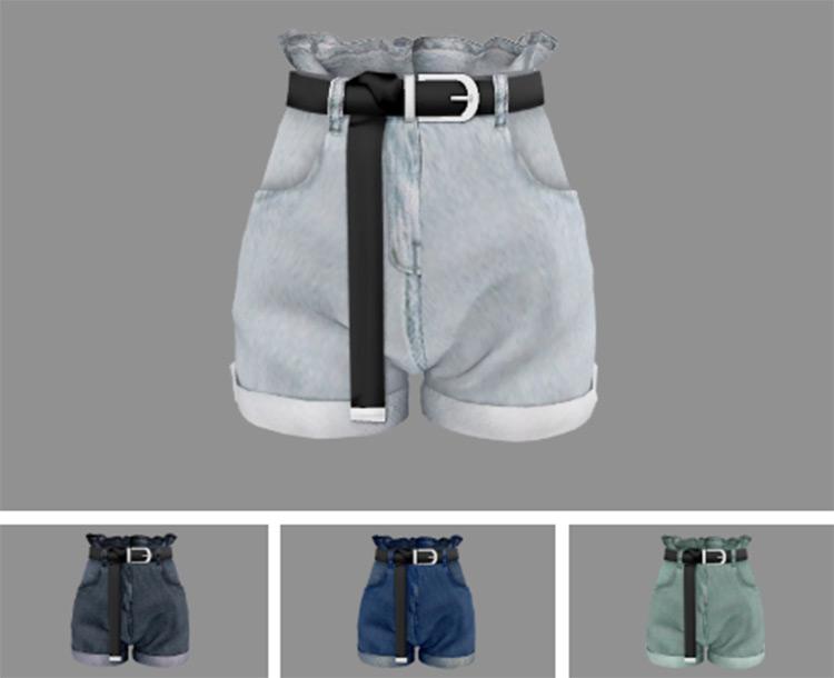 Newen Frill Denim Shorts - Sims 4 CC