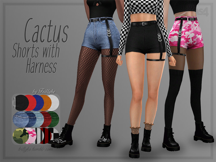 Cactus Shorts with Harness - Sims 4 CC