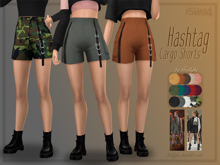 Hashtag Cargo Shorts Sims4 CC