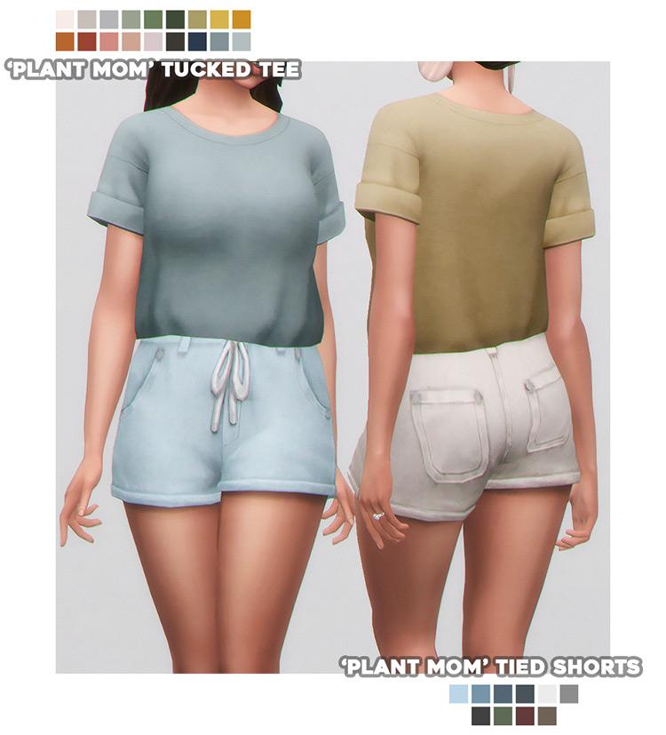 Plant Mom Tied Shorts - Sims4 CC