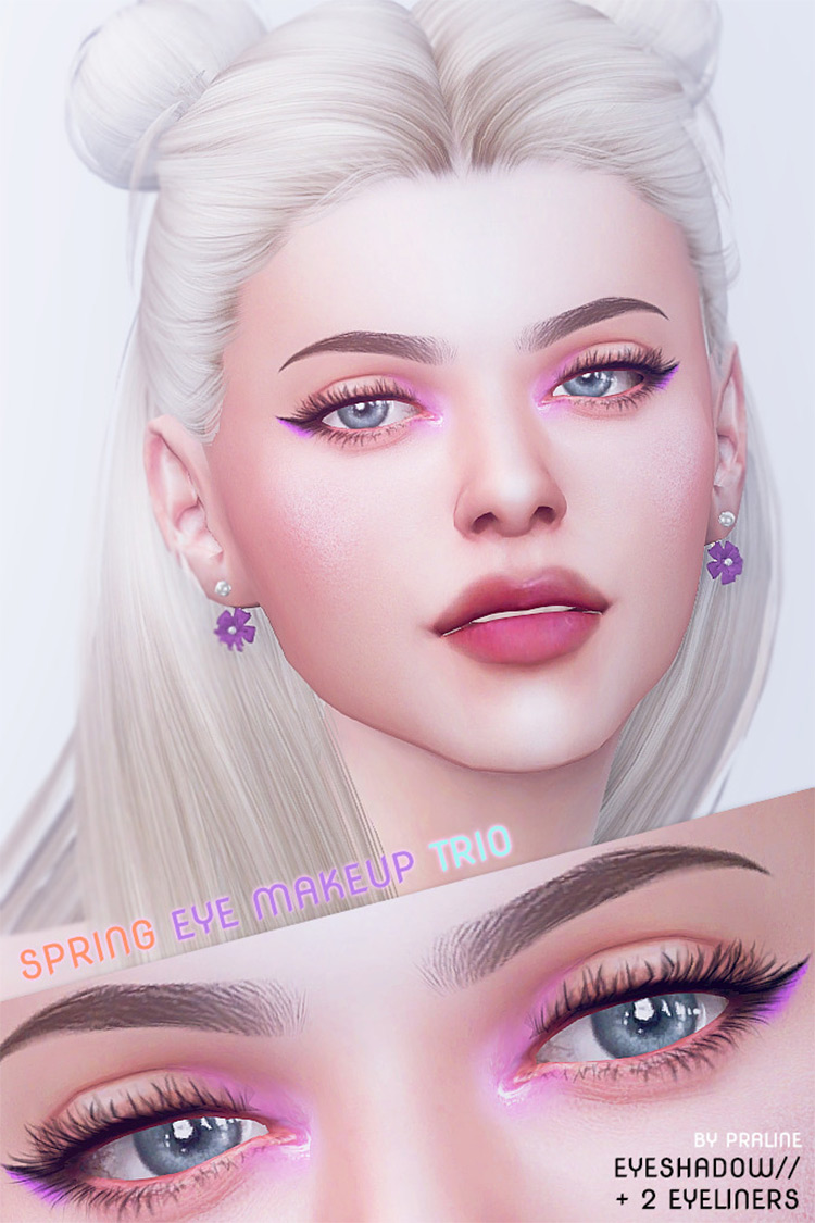 Spring Eye Makeup Trio CC Pack for Sims 4