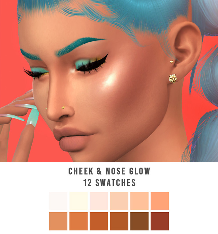 Cheek & Nose Glow Sims 4 CC Pack