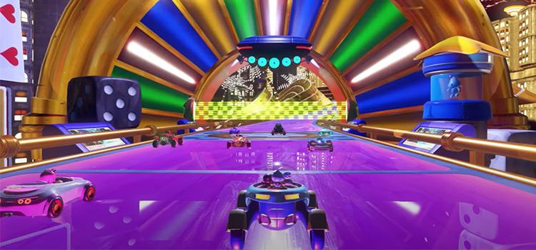 Team Sonic Racing screenshot of purple racetrack