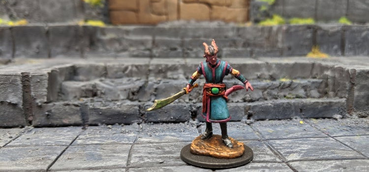 Tiefling Warlock Male Dungeon miniature for DnD