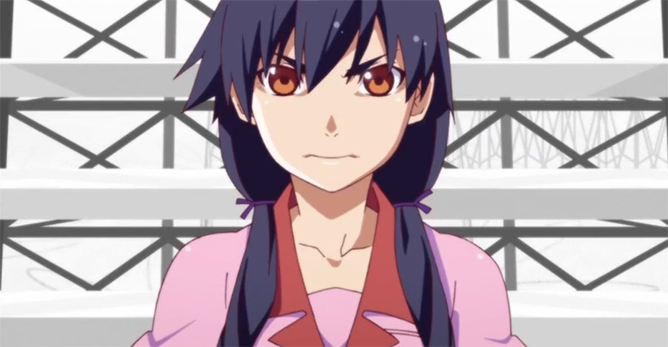 Suruga Kanbaru, blue hair anime girl - Bakemonogatari screenshot