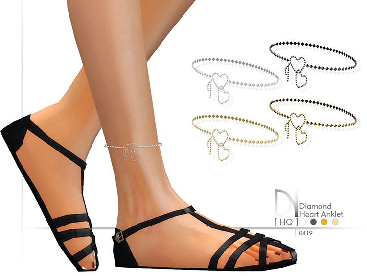 Diamond Heart Anklet CC for Sims4