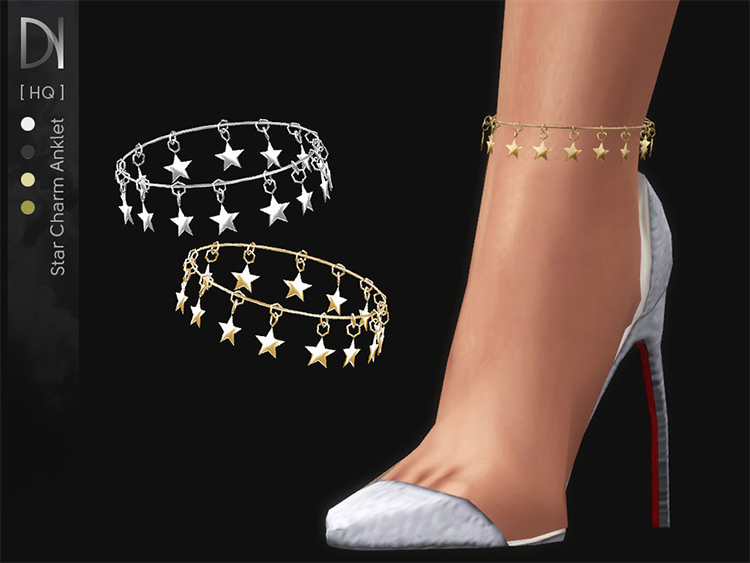 Star Charm Anklet CC for Sims 4
